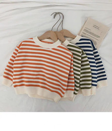 baby pullover NZ - New autumn 2019 baby stripe sweater knitwear girl pullover boyish chic with classic cute and refreshing tops