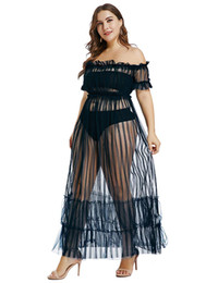 $enCountryForm.capitalKeyWord UK - Women's Sexy Lace Off Shoulder Puff Sleeve High Waist Layered Club Mesh Club Maxi Dress Long Party Gown S-XXXL