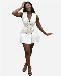 Wholesale work clothes online – Summer Ladies Pure Color Dress Fashion Designer Lapel Neck Women Pencil Dresses Casual Panelled Female Clothing with Button