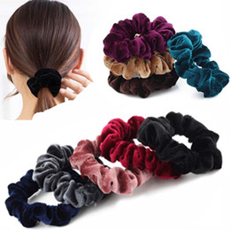 China New Fashion Luxury Soft Feel Velvet Hair Scrunchie Ponytail Donut Grip Loop Holder For Women Girls Rubber Band Tie Hair Braiders cheap donut scrunchie suppliers
