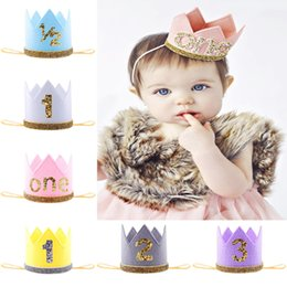 Wholesale Priness Crown Number st Year Old Party Hat Glitter Birthday Headband Gift Boy Blue Silver First Birthday Hat Girl Gold Pink