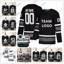Custom 2019 NHL All-Star Game Jerseys Stitched Any Name Number Crosby Burns  Kane Fleury McDavid Men Women Youth Kid Black White Ice Hockey f8a0be2f5