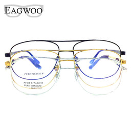 China Titanium Eyeglasses Double Bridge Vintage Nerd Big Size Optical Frame Prescription Reading Spectacle For Wide Face Men Glasses supplier titanium frame reading suppliers