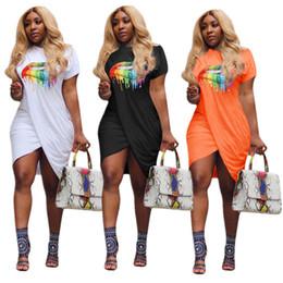 Lip mouth online shopping - Big Lips Fashion Ruched Dress Rainbow Mouth Print t shirt Short Skirt Sexy Irregular Split Dresses Party Dresses Women Skirt Clothing C72309
