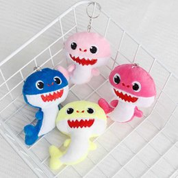 Discount shark figures - BABY SHARK Keychains Key Chains 10CM Stuffed&Plush Dolls 4inch Keyrings Cars Plush Pendant School Bags Party Home Decora