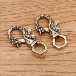 $enCountryForm.capitalKeyWord Australia - 57*12 55*12mm Vintage Handmade Pure Brass Dragon Type Key O Ring Pendant Buckle DIY Creative Bag Clothing Decoration