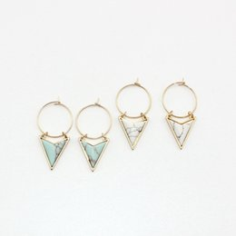 Marble earrings online shopping - Gold Color Triangle White Green Turquoise Marble Earrings Natural Stone Charms Dangle Earrings Jewelry For Women