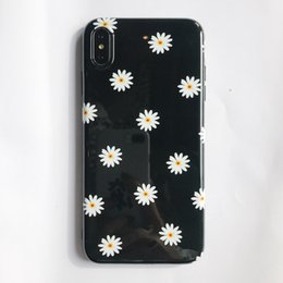 Chinese  3D Flower Daisy Silicon Case for IPhone X S XS Max Xr 6 6S 7 8 Plus I Phone 8plus Tpu Floral Back Cover Glossy Black Phone Protective Cases manufacturers
