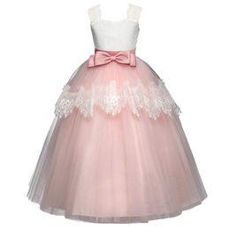 Wedding Tutus Australia - Flower Girl Dress Lace Tutu Dress Floor Length Princess Junior Bridesmaid Pageant Wedding Communion Evening Gowns