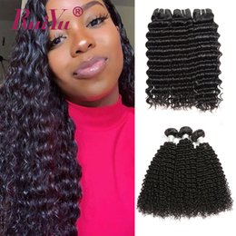 $enCountryForm.capitalKeyWord Australia - Wholesale Indian Afro Kinky Curly Hair Extensions Unprocessed Deep Wave Human Hair Weave Bundles Natural Color Ruiyu Remy Hair Wefts 4pcs