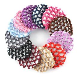 Dance hair nets online shopping - ROPALIA Girls Bun Cover Snood Hair Net Women Ballet Dance Skating Crochet Colorful Elastic Hairnet