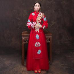 ToasT cloThing online shopping - Lace Flower Toast Clothing Qipao Embroidery Phoenix Marriage Cheongsam Elegant Bridal Wedding Dress Suit Long Sleeve Vestidso
