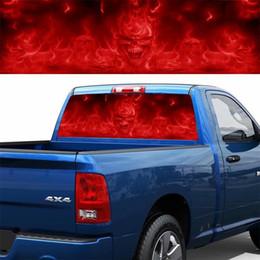 $enCountryForm.capitalKeyWord Australia - 1PC Red Flame Evil Skull Back Gear Car Sticker Horror Rear Window Glass Color Autos Decals