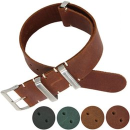 nato leather strap NZ - Handmade Crazy Horse Skin Genuine Leather Nato Strap Watch Bands18.20 22 24mm
