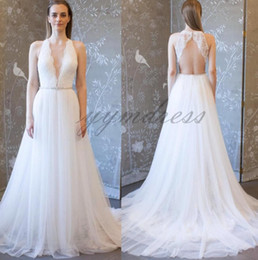 Berta Black Summer Dresses Australia - 2019 Berta Boho Beach Bridal Gowns Wedding Dresses Deep V Neck Tulle Floor Train A Line Sexy Backless Wedding Dress Custom Made
