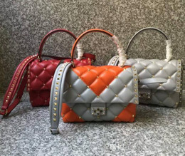 $enCountryForm.capitalKeyWord Australia - Newest summer style imported head lambskin genuine leather twelve colors two-tone full rivets plaids top quality casual woman shoulder bags