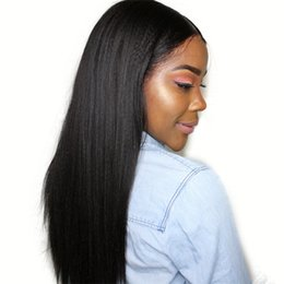 $enCountryForm.capitalKeyWord NZ - Peruvian Human Hair Yaki Full Lace Wig with Baby Hair Glueless Kinky Straight Lace Front Wig Bleached Knots
