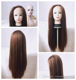 $enCountryForm.capitalKeyWord Australia - Full Lace synthetic wigs 6# Brown yaki kinky straight synthetic lace front wig for black wowen Heat Resistant Fiber Glueless Swiss Lace Wig