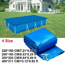 pool wear Australia - Swimming Pool Cover Suitable Square Swimming Pools Accessory Waterproof Rainproof Dust Cover Tarpaulin With Wear-resistant Rope