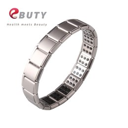 best energy bracelets 2019 - EBUTY Men Sports Bracelet Stainless Steel Health Germanium Bangle Energy Healing Jewelry Best Gift Wristband Fashion che