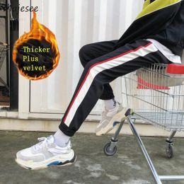 $enCountryForm.capitalKeyWord NZ - Pants Men Thicker Plus Velvet Striped Large Size Pockets Loose Harajuku Street Wear Slim Harem Pant Mens Korean Winter Trousers