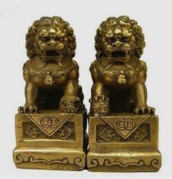 Lion foo fu dog statue online shopping - Art Bronze Decoration Crafts Brass old collect A Pair Brass Folk Fengshui Foo Fu Dog Guardion Door Lion Statue sculpture