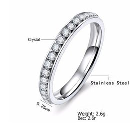 $enCountryForm.capitalKeyWord NZ - Silver Color Titanium Stainless Steel Crystal Wedding Rings for women CZ Surround Men Ring Fashion Jewelry Wholesale