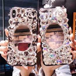 $enCountryForm.capitalKeyWord Australia - Luxury Full diamonds phone case for Samsung S7 Edge S8 S9 S10 Plus bling Camellia makeup mirror cover for S10 5G version Note 8