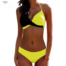 sexy plus size swim wear Australia - Suit 2019 Bikini Sexy Push Up Two Piece Women Criss Cross Halter Bikinis Plus Size Female Bathing Bikinis Swim Wear