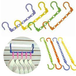 $enCountryForm.capitalKeyWord Australia - Plastic Folding Hangers Multi Function Windproof Clothes Rack Colourful Non Slip Coat Hanger p