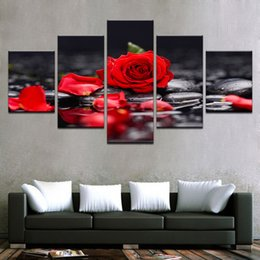 $enCountryForm.capitalKeyWord Australia - 5 Pieces set Canvas Print Flower Red Rose In Black Wall Art Picture with Modern Wall Paintings Modular Picture No Frame