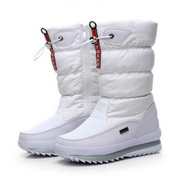 Snow boot inSoleS online shopping - Women Winter Shoes Mid Calf Boots Female Snow Boots Warm Fur Booties Plush Insole Ladies Waterproof Wedge Platform Shoes