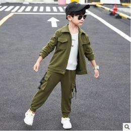 $enCountryForm.capitalKeyWord Australia - Boys Jacket Clothing Set 2019 New Spring Autumn Kids Clothes Sets Children Suits 2 Piece 2 Print Jacket Colors Size4-14 ly283