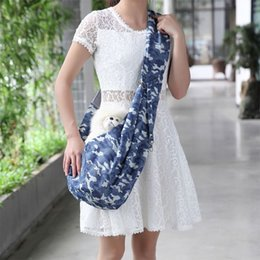 Simple cloth bagS online shopping - Simple Blue Background Mobile Phone Bag Buckle Adjustment Pet Bag White Small Pattern Camouflage Cloth Pet Portable Backpack