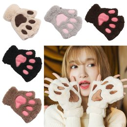 Women Female Gloves Mitten Cute Women Cat Claw Paw Mitten Plush Glove Costume Cute Winter Half Finger Novelty Gloves Apparel Accessories