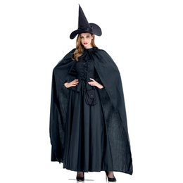 Women Witch costume gothic online shopping - Adult Women Halloween Witch Gothic Costume Long Robe Dress Black Cosplay Vintage Cloak Fancy Outfit For Girls S XL Plus Size Girls Halloween