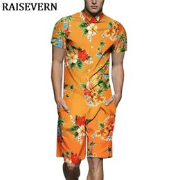 Hawaiian Guitar NZ - Hawaiian Beach Floral Guitar Men Romper 3D Jumpsuit Playsuit Harajuku Overalls One Piece Jumpsuit Hawaiian Shirts Men's Sets