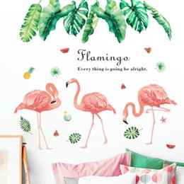Bathroom Wall Sticker Quotes Australia - Green Plant Leaves Wall Stickers Flamingo Wall Art Mural Poster Art European Style Home Decor Self-adhesive Wallpaper Quote Decals