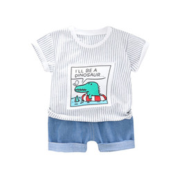 Denims Shirts For Girls Australia - 2019 Baby Clothes for Boys Girls Short Sleeve Stripe Cartoon Print Tops T-shirt+Denim Shorts Children Casual Outfits Sets
