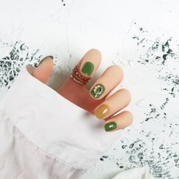 Full color Fake nails online shopping - 24pcs set Full Cover Green Color False Fake Nails with Moon Rhinestone Design Adhesive Nail Art Fake Nails Tips with Glue