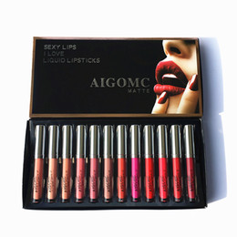 free shipping lipstick sexy NZ - 2019 new AIGOMC Makeup Brand Lipstick Kit 12 pcs set SEXY LIPS I LOVE LIQUID LIPSTICKS Cosmetic FREE shipping