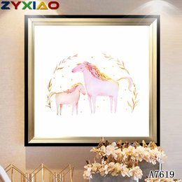 $enCountryForm.capitalKeyWord Australia - ZYXIAO Large Size Oil Painting animal pink horse Ink painting Home Decor on Canvas Modern Wall Art No Frame Print Poster picture A7619