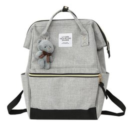 Back Hand Chain UK - Women Bear Backpack Preppy Style Hand Back Bag Oxford Cloth Travel School Shoulder Bags for Girls Mochila Feminina 2019 New #172852