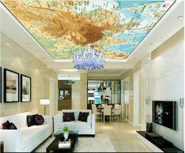 Vintage Style World Maps Australia - Papel de parede Custom 3D photo silk mural wallpaper HD Outlook World Time Map Zenith Ceiling Mural Decorative Wall Stickers