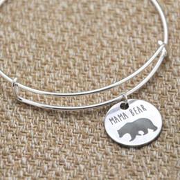 White Bear Charms Australia - Mama bear charm bracelet bangles silver tone mother's day gift christmas gift