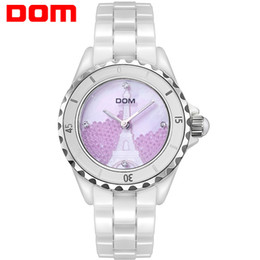 Water Resistant Wrist Watch Australia - Unique ceramic watch with crystal wrist watch luminous water resistant quartz watch lady's wristwatches with a rotating dial free shipping