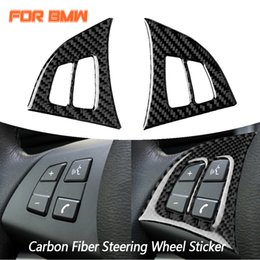 wheel trimmer UK - Real Carbon Fiber Car Styling Steering Wheel Button Decoration Cover Trim Frame For BMW X5 E70 2008 2009 2010 2011 2012 2013
