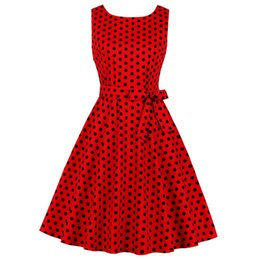 55ac7fac6 Wipalo Polka Dot Print Women 1950s Vintage Party Dress Belted Cotton Pin Up  Rockabilly A-line Swing Robe Femme Vestido Red Q190429