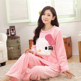 $enCountryForm.capitalKeyWord Australia - Autumn Winter Women Flannel Print Cartoon Cat Long Sleeve Pajama Set Sleepwear
