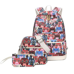 Style Prints Australia - Casual Women School Backpacks Bag For Outdoor Travel Backpack Bags Owl Print Preppy Style Canvas Fashion Teenager Girl Backpack